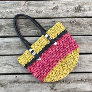 Rebecca Minkoff Woven Straw color-block Tote Bag